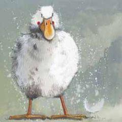wenskaart alex clark - eend met veer