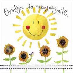 wenskaart alex clark - thank you for making me smile - zon