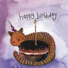 verjaardagskaart alex clark - happy birthday - kat met taart