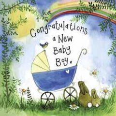 geboortekaart alex clark - new baby boy - kinderwagen