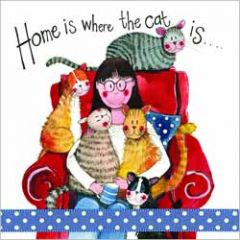 wenskaart alex clark - home is where the cat is