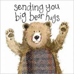 wenskaart alex clark - sending you big bear hugs - beer