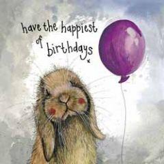 verjaardagskaart alex clark - have the happiest of birthdays - konijn met ballon