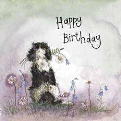 verjaardagskaart alex clark - happy birthday - hond met bloemen