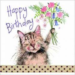 verjaardagskaart alex clark - happy birthday - kat met bloemen