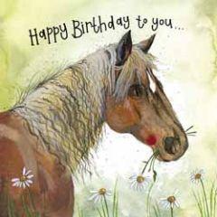 verjaardagskaart alex clark - happy birthday to you - paard