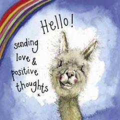 wenskaart alex clark - sending love & positive thoughts - alpaca