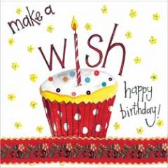 verjaardagskaart alex clark - make a wish - cupcake