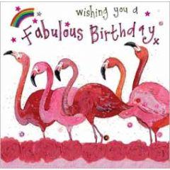 wenskaart alex clark - wishing you a fabulous birthday - flamingo's