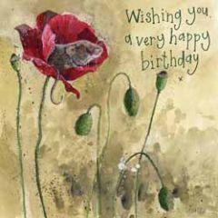verjaardagskaart alex clark - wishing you a very happy birthday - muis in bloem