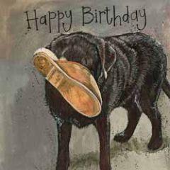 verjaardagskaart alex clark - happy birthday - hond met pantoffel