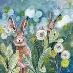 wenskaart alex clark - konijnen tussen planten