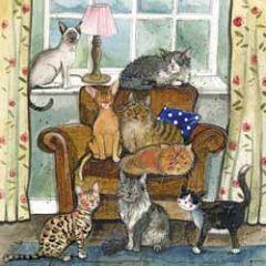 wenskaart alex clark - katten op en bij stoel
