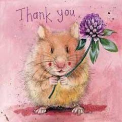 wenskaart alex clark - thank you - hamster met bloem