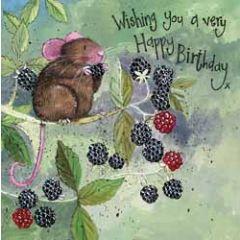 verjaardagskaart alex clark - wishing you a very happy birthday - muis met bramen