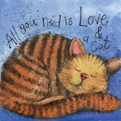 wenskaart alex clark - all you need is love & a cat