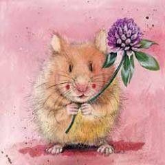 wenskaart alex clark - hamster met bloem