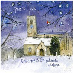 kerstkaart alex clark - peace, love & warmest christmas wishes