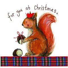 kerstkaart alex clark - for you at christmas - eekhoorn