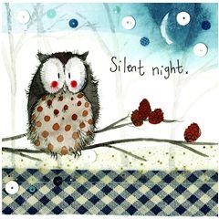 kerstkaart alex clark - silent night - uil op tak