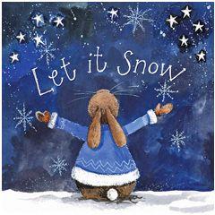 kerstkaart alex clark - let it snow - konijn
