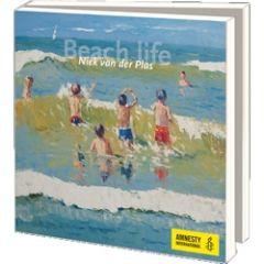 10 wenskaarten voor amnesty international - beach life - niek van der plas