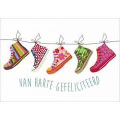 ansichtkaart - van harte gefeliciteerd - schoenen