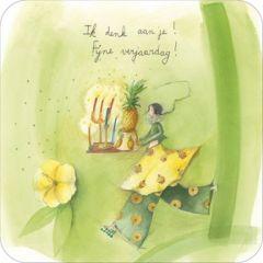vierkante ansichtkaart met envelop - anne-sophie rutsaert - ik denk aan je fijne verjaardag