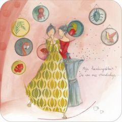 vierkante ansichtkaart met envelop - anne-sophie rutsaert - mijn lievelingskleur die van onze vriendschap