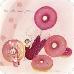 vierkante ansichtkaart met envelop - anne-sophie rutsaert - nog vele zoete jaren... - donuts