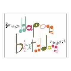 ansichtkaart verjaardagskaart - happy birthday - muzieknoten