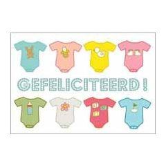 ansichtkaart geboortekaartje - gefeliciteerd! - rompertjes