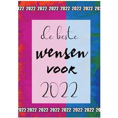 nieuwjaars ansichtkaart - de beste wensen voor 2022 - rood blauw | muller wenskaarten