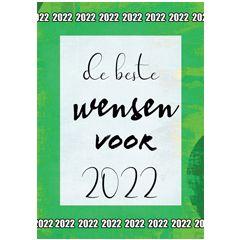 nieuwjaars ansichtkaart - de beste wensen voor 2022 - groen | muller wenskaarten