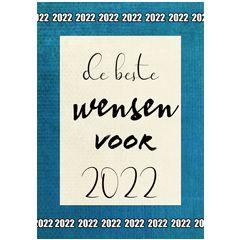 nieuwjaars ansichtkaart - de beste wensen voor 2022 - blauw | muller wenskaarten