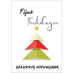 kerst ansichtkaart - fijne feestdagen gelukkig nieuwjaar - kerstboom van papier | muller wenskaarten