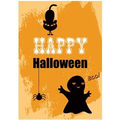 ansichtkaart - happy halloween - spookje spin en zwarte kat | muller wenskaarten