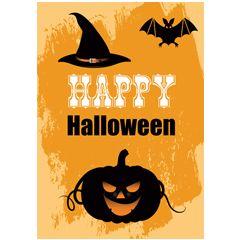 ansichtkaart - happy halloween - pompoen vleermuis heksenhoed | muller wenskaarten