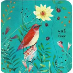 vierkante ansichtkaart met envelop - izou - with love - vogel