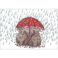 ansichtkaart correspondances - olifanten onder paraplu