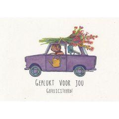 ansichtkaart katja kaduk - geplukt voor jou gefeliciteerd! - bos bloemen op auto