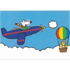 ansichtkaart muis - vliegtuig