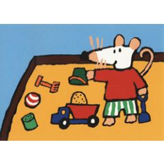 ansichtkaart muis - zandbak