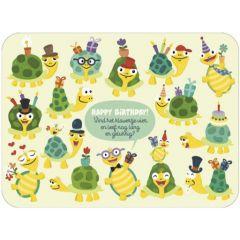 ansichtkaart correspondances - happy birthday - vind het klavertje vier en leef nog lang en gelukkig!