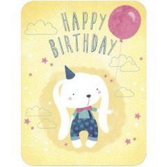 ansichtkaart correspondances - happy birthday - konijn met ballon