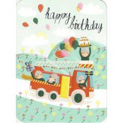 ansichtkaart correspondances - happy birthday - brandweer