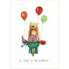 ansichtkaart katja kaduk - ik stuur je een bloemetje - kruiwagen en ballonnen