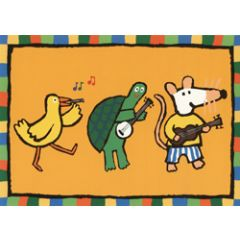 ansichtkaart muis - muziek