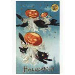 halloween ansichtkaart - pompoenen en zwarte katten