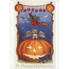 a happy halloween - ansichtkaart - pompoenen uil en heks op bezemsteel